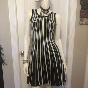 NWT 🆕Bebe Black and White Striped Cocktail Dress